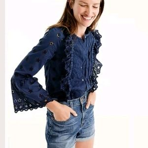 J. Crew Floral Eyelet Ruffle Bell Sleeves Scallops